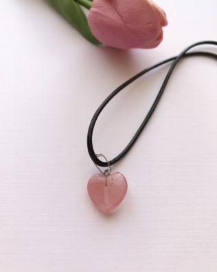 Cseresznyekvarc szív medálos nyaklánc