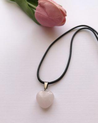 Rózsakvarc szív medálos nyaklánc