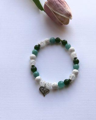 Diana zöld-fehér ásványkarkötő