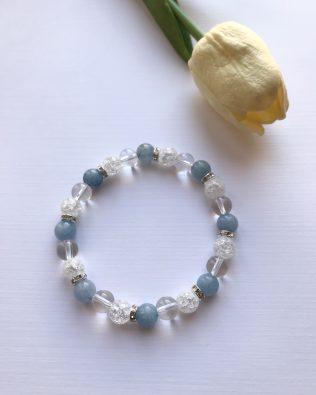 Hegyikristály – kék jade ásványkarkötő