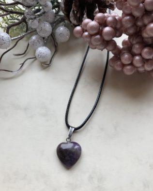 Ametiszt szív medálos nyaklánc