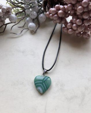 Zöld achát szív medálos nyaklánc