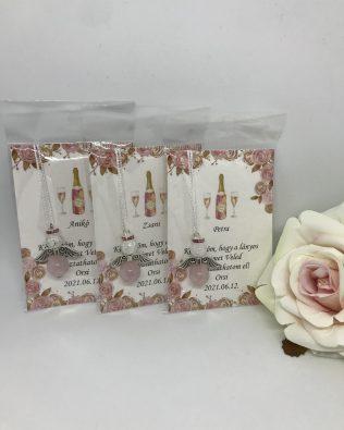 Rose and white angyalka ezüst szárnnyal – pezsgős kártyával